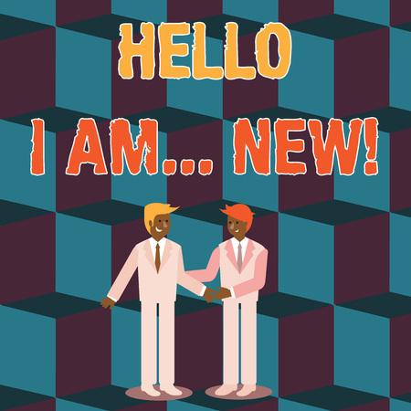 Segno di testo che mostra Ciao io sono nuovo. Testo della foto aziendale utilizzato come saluto o per iniziare una conversazione telefonica Due uomini d'affari in piedi, sorridenti e si salutano a vicenda