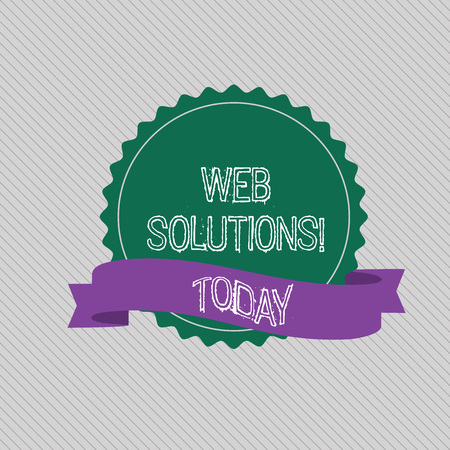 Text sign showing Web Solutions. Business photo text program over network and accessible through web browser Blank Color Seal Sticker with Jagged Edge and Different Shade Ribbon Strip