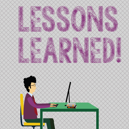 Conceptual hand writing showing Lessons Learned. Concept meaning learning gained from process of performing project Businessman Sitting on Chair Working on Computer and Books