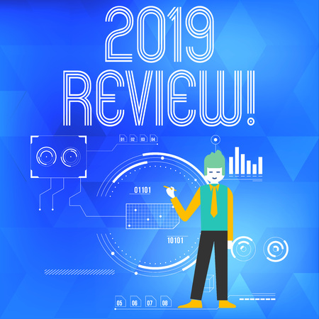 Text sign showing 2019 Review. Business photo showcasing remembering past year events main actions or good shows Man Standing Holding Pen Pointing to Chart Diagram with SEO Process Icons