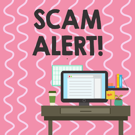 Text sign showing Scam Alert. Business photo showcasing fraudulently obtain money from victim by persuading him photo of Interior Working Space Station Concept of Technical Person Stock Photo