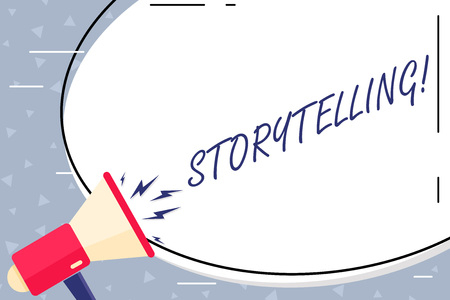 Text sign showing Storytelling. Business photo showcasing activity writing stories for publishing them to public Blank White Huge Oval Shape Sticker and Megaphone Shouting with Volume Icon