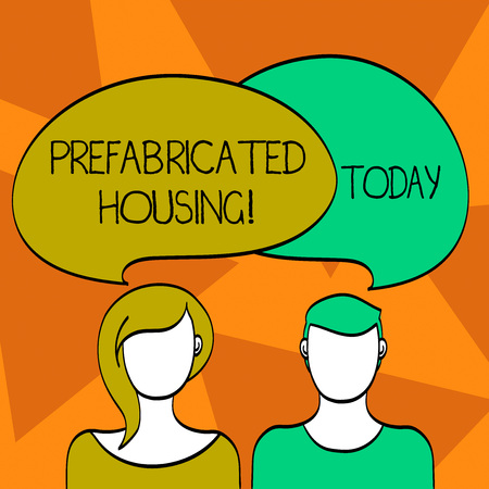 Word writing text Prefabricated Housing. Business photo showcasing Practice of assembling parts of a structure earlier Blank Faces of Male and Female with Colorful Blank Speech Bubble Overlaying