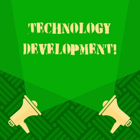 Text sign showing Technology Development. Business photo text Anything in regards to inventions or innovations Blank Double Spotlight Crisscrossing Upward from Two Megaphones on the Floor