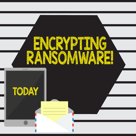 Word writing text Encrypting Ransomware. Business photo showcasing malware that limits users from accessing their system Open Envelope with Paper and Blank Tablet Screen on Colorful Blank Space