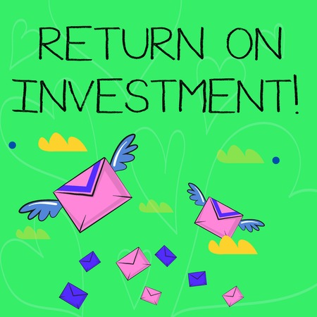 Conceptual hand writing showing Return On Investment. Concept meaning perforanalysisce measure used evaluate efficiency of investment Colorful Airmail Letter Envelopes and Two of Them with Wings Archivio Fotografico