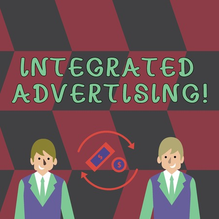 Text sign showing Integrated Advertising. Business photo text Unified experience to consumer to interact with brand Money in Dollar Currency Sign Inside Rotating Arrows Between Two Businessmen
