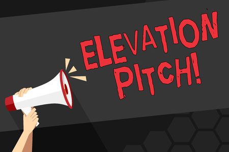 Text sign showing Elevator Pitch. Business photo showcasing short description of product business idea given to investor Human Hand Holding Tightly a Megaphone with Sound Icon and Blank Text Space