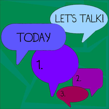 Text sign showing Let's Talk. Business photo showcasing they are suggesting beginning conversation on specific topic Many Color Speech Bubble in Different Sizes and Shade for Group Discussion