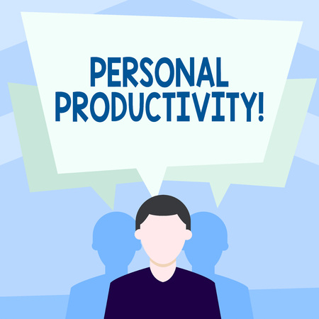 Writing note showing Personal Productivity. Business concept for means the state or quality of being productive Faceless Man has Two Shadows with Speech Bubble Overlapping