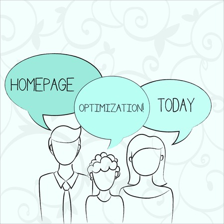 Text sign showing Homepage Optimization. Business photo showcasing improve a website s is ability to drive business goals Family of One Child Between Father and Mother and Their Own Speech Bubble Stock Photo