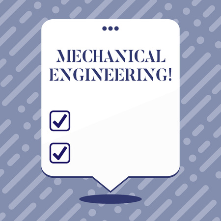 Text sign showing Mechanical Engineering. Business photo showcasing Concerned with industrial application of mechanics Blank Space White Speech Balloon Floating with Three Punched Holes on Top