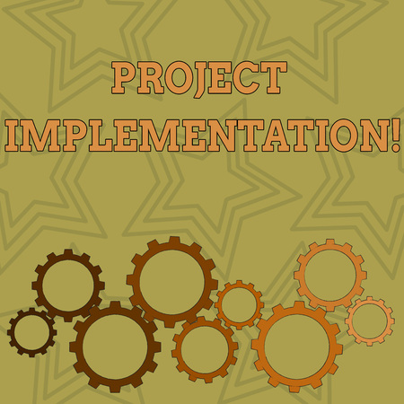 Writing note showing Project Implementation. Business concept for phase where visions and plans become reality Colorful Cog Wheel Gear Engaging, Interlocking and Tesselating