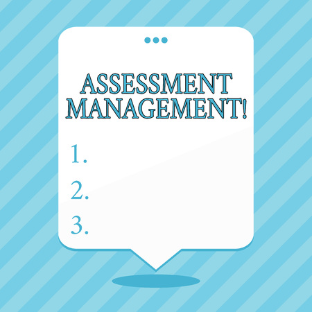 Word writing text Assessment Management. Business photo showcasing analysisagement of investments on behalf of others Blank Space White Speech Balloon Floating with Three Punched Holes on Top