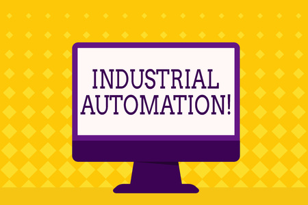 Text sign showing Industrial Automation. Business photo showcasing Use of control systems to handle industrial process Blank Space Desktop Computer Colorful Monitor Screen Freestanding on Table