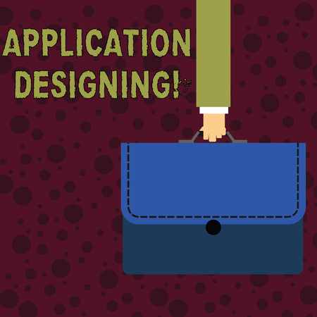 Conceptual hand writing showing Application Designing. Concept meaning develops software based on the specific needs Businessman Carrying Colorful Briefcase Portfolio Applique