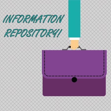 Conceptual hand writing showing Information Repository. Concept meaning A place where data are stored and can be found Businessman Carrying Colorful Briefcase Portfolio Applique