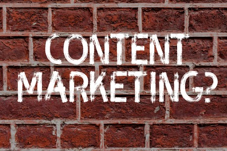 Text sign showing Content Marketing question. Business photo text involves creation and sharing of online material Brick Wall art like Graffiti motivational call written on the wall