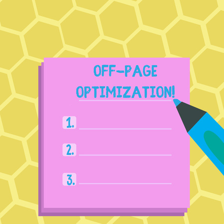 Word writing text Off Page Optimization. Business photo showcasing set of techniques to increase your website s is ranking Blank Colorful To Do Check List Planner Sheets with Tick Box and Marker Pen Фото со стока