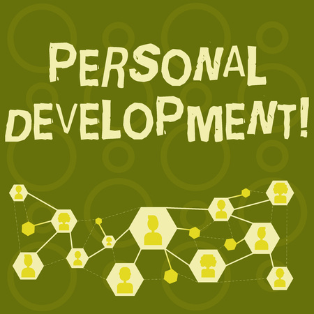 Text sign showing Personal Development. Business photo text process of improving oneself through activities Online Chat Head Icons with Avatar and Connecting Lines for Networking Idea