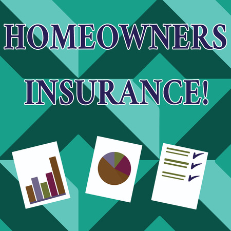 Word writing text Homeowners Insurance. Business photo showcasing Covers losses and damages to an individual s is house Presentation of Bar, Data and Pie Chart Diagram Graph Each on White Paper