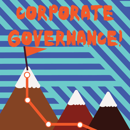 Conceptual hand writing showing Corporate Governance. Concept meaning system of processes by which a firm is controlled Three Mountains with Hiking Trail and Snowy Top with Flag Banco de Imagens
