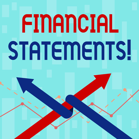 Writing note showing Financial Statements. Business concept for the formal records of the financial activities Two Arrows One Intertwined to Other Team Up or Competition Stock Photo