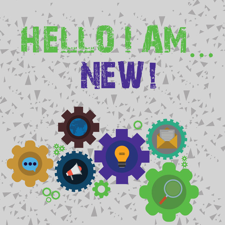 Word writing text Hello I Am New. Business photo showcasing used as greeting or to begin telephone conversation Set of Global Online Social Networking Icons Inside Colorful Cog Wheel Gear Banco de Imagens