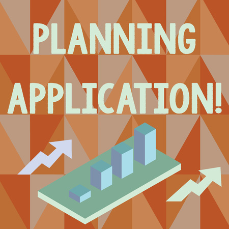Word writing text Planning Application. Business photo showcasing request to a local authority for permission to build Colorful Clustered 3D Bar Chart Graph Diagram in Perspective with Two Arrows Foto de archivo
