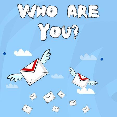 Conceptual hand writing showing Who Are You question. Concept meaning asking demonstrating identity or demonstratingal information Colorful Airmail Letter Envelopes and Two of Them with Wings 版權商用圖片