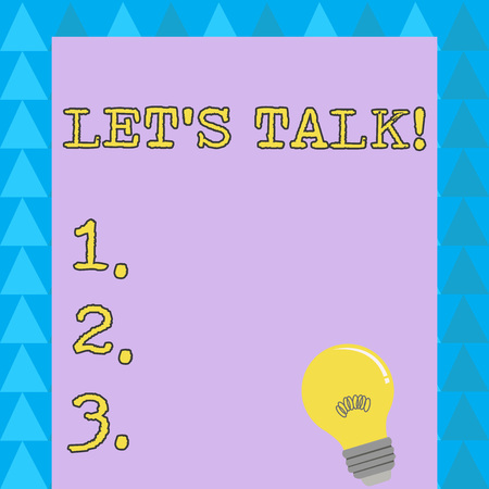 Word writing text Let S Talk. Business photo showcasing they are suggesting beginning conversation on specific topic Incandescent Light Bulb with Filament Inside Resting on Blank Color Paper Stock fotó
