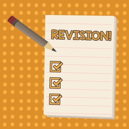 Conceptual hand writing showing Revision. Concept meaning action of revising over someone like auditing or accounting Pencil with Eraser and Pad on Two Toned Polka Dot Background