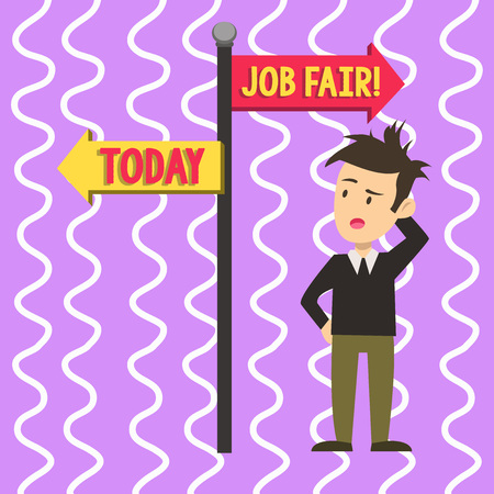 Conceptual hand writing showing Job Fair. Concept meaning event in which employers recruiters give information to employees Man Confused with Road Sign Pointing to Opposite Direction Stock Photo