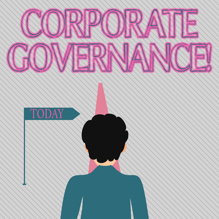 Text sign showing Corporate Governance. Business photo text system of processes by which a firm is controlled Man Facing the Distance Ahead and Blocking the View of Straight Narrow Path
