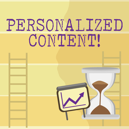 Writing note showing Personalized Content. Business concept for seeks to tailor a digital product to specific user Growth Chart with Arrow Going Up and Hourglass Sand Sliding