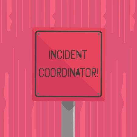 Word writing text Incident Coordinator. Business photo showcasing responsible for the integrity of the Incident 3D Square Blank Colorful Caution Road Sign with Black Border Mounted on Wood Archivio Fotografico