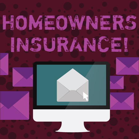 Conceptual hand writing showing Homeowners Insurance. Concept meaning Covers losses and damages to an individual s is house Open Envelope inside Computer Letter Casing Surrounds the PC