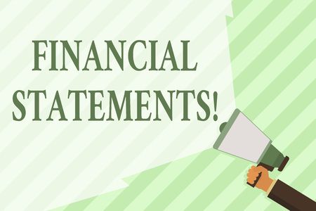 Word writing text Financial Statements. Business photo showcasing the formal records of the financial activities Hand Holding Megaphone with Blank Wide Beam for Extending the Volume Range