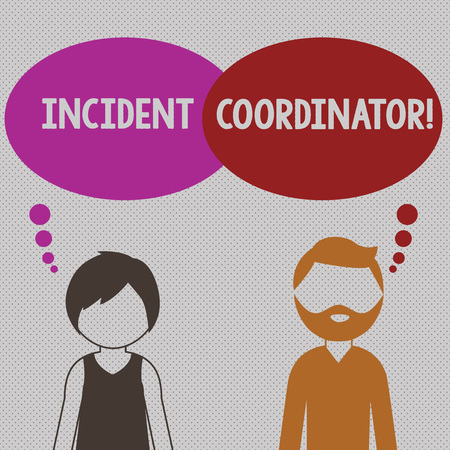 Writing note showing Incident Coordinator. Business concept for responsible for the integrity of the Incident Bearded Man and Woman with the Blank Colorful Thought Bubble Stock fotó