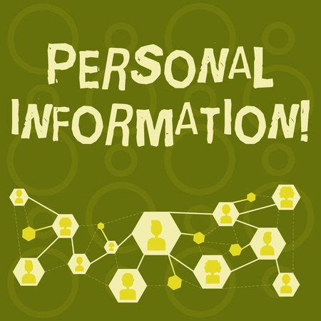Text sign showing Personal Information. Business photo text recorded information about an identifiable individual Online Chat Head Icons with Avatar and Connecting Lines for Networking Idea Imagens