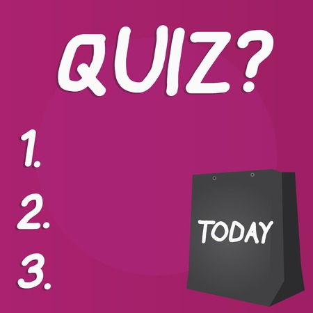 Writing note showing Quiz Question. Business concept for test of knowledge as competition between individuals or teams Color Gift Bag with Punched Hole on Two toned Blank Space