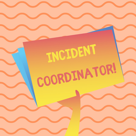 Word writing text Incident Coordinator. Business photo showcasing responsible for the integrity of the Incident Hand Holding and Raising Blank Space Colorful File Folder with Sheet Inside