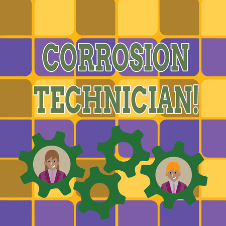 Word writing text Corrosion Technician. Business photo showcasing installation and maintaining corrosion control systems Two Business People Each Inside Colorful Cog Wheel Gears for Teamwork Event