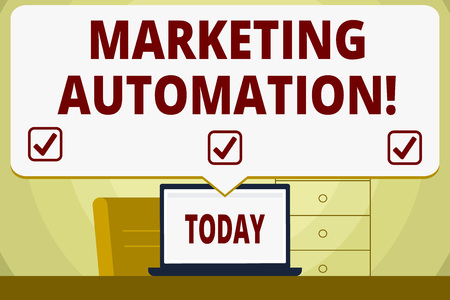 Conceptual hand writing showing Marketing Automation. Concept meaning Software used by company to effectively target customer Speech Bubble Pointing White Laptop Screen in Workspace Idea