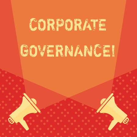 Word writing text Corporate Governance. Business photo showcasing system of processes by which a firm is controlled Blank Double Spotlight Crisscrossing Upward from Two Megaphones on the Floor 版權商用圖片