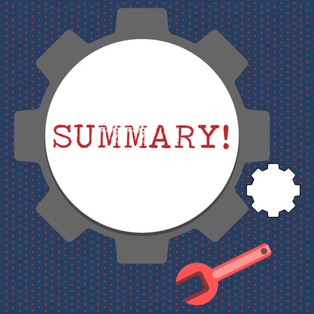 Conceptual hand writing showing Summary. Concept meaning brief statement or account of main points of something subject Wheel Gear and Wrench Mechanical Tool for SEO and Web Icon