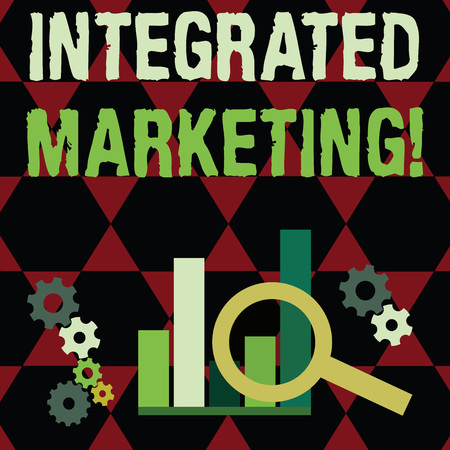 Text sign showing Integrated Marketing. Business photo text creating unified and seamless experience for consumers Magnifying Glass Over Bar Column Chart beside Cog Wheel Gears for Analysis