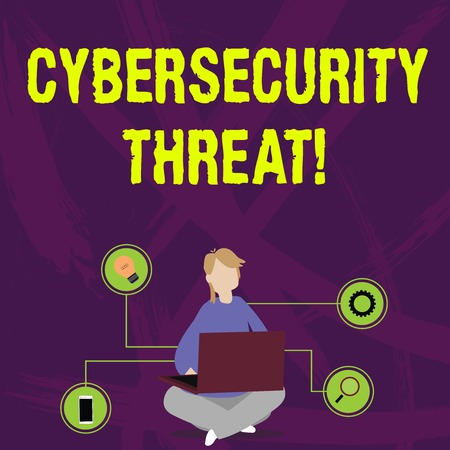 Writing note showing Cybersecurity Threat. Business concept for potential to cause serious harm to a computer system Woman Sitting with Crossed Legs on Floor Browsing the Laptop