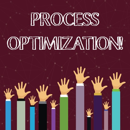 Text sign showing Process Optimization. Business photo text improves the processes and takes them to a high level Hands of Several Businessmen Raising Up Above the Head, Palm Facing Front 写真素材 - 121066114