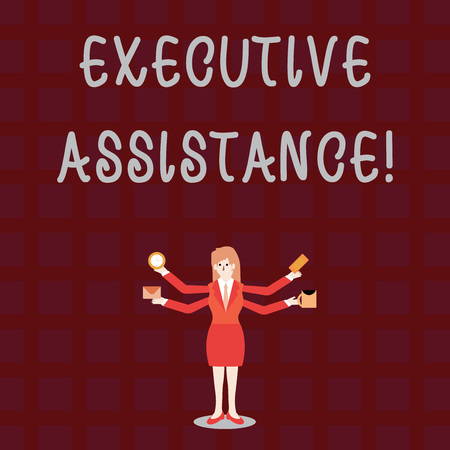 Text sign showing Executive Assistance. Business photo showcasing focus on providing highlevel administrative support Businesswoman with Four Arms Extending Sideways Holding Workers Needed Item Banco de Imagens